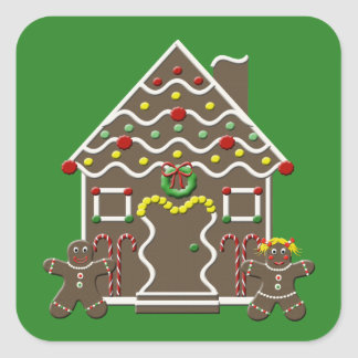 Cute Christmas Gingerbread House Square Sticker