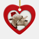Cute Christmas Goat Couple Ceramic Heart Ornament