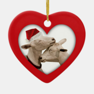 Cute Christmas Goat Couple Ceramic Ornament