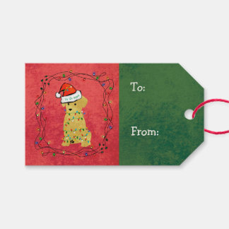 Cute Christmas Golden Retriever Puppy Gift Tags