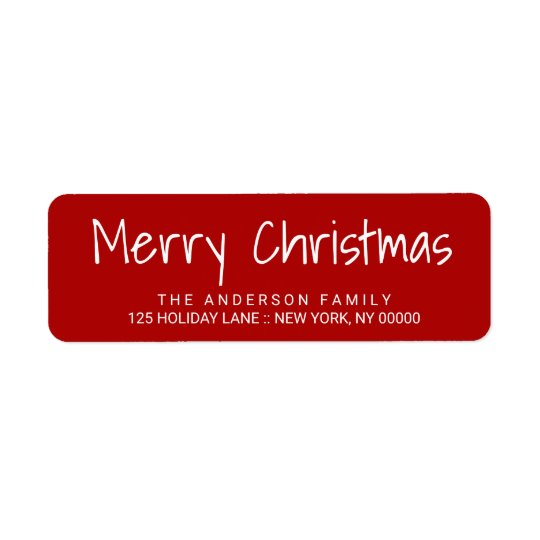 Cute Christmas Hand-Printed Lettering Red Label Return Address Label