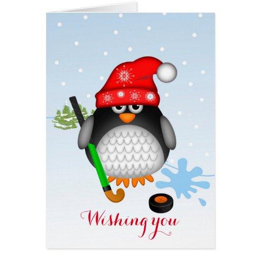 Cute Christmas Hockey Penguin & custom text card | Zazzle