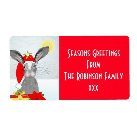 Cute Christmas Holiday Bunny Rabbit Editable