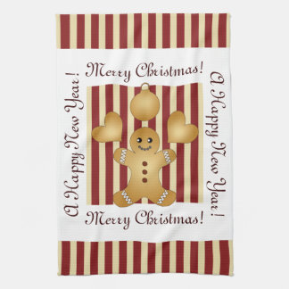 Cute Christmas Holiday Cookie Cartoon Kids Striped Kitchen Towel