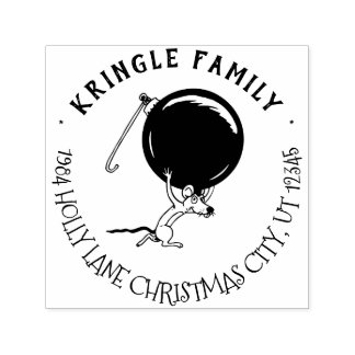 Cute Christmas Holiday Mouse Return Address Self-inking Stamp