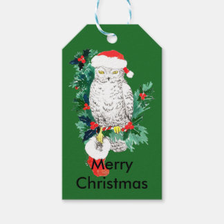 Cute Christmas Holiday Owl with Stocking Pack Of Gift Tags