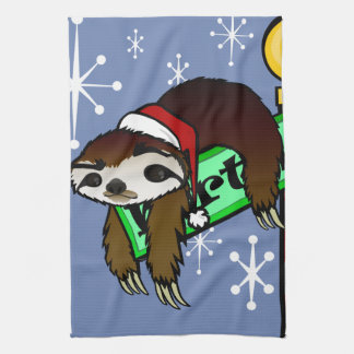 CUTE CHRISTMAS HOLIDAY SLOTH KITCHEN TOWEL