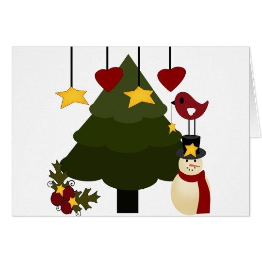 Cute Christmas Holidays Tree Snowman Stars Bird Card
