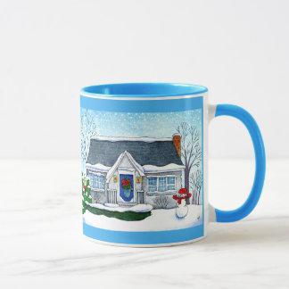 Cute Christmas house with snowman mug