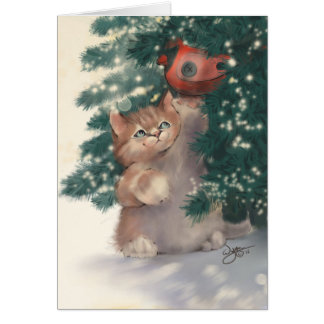 Cute Christmas Kitten Greeting Card Gift