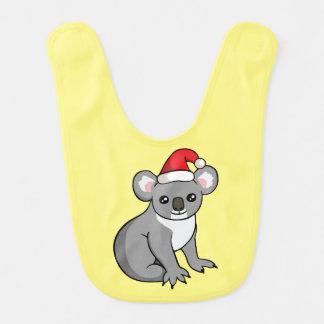 Cute Christmas Koala Santa Hat Drawing Baby Bib