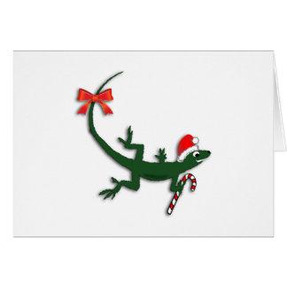 Cute Christmas Lizard Custom Greeting Card