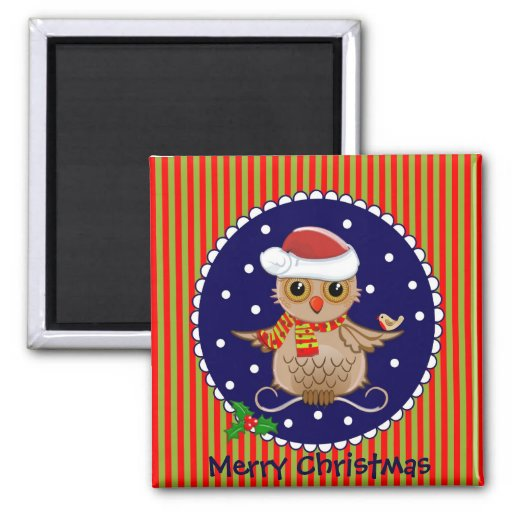 Cute Christmas magnet with cartoon owl and text
