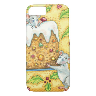 Cute Christmas Mice Carrying a Fruit Cake Dessert iPhone 7 Case