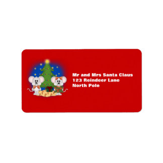 Cute Christmas Mice with Customizable Text Label