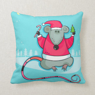 Cute Christmas Mouse Wearing Santa Outfit Throw Pillow