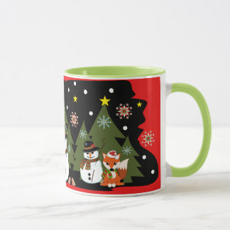 Cute Christmas mug with snowmen, foxes and text
