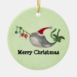 Cute Christmas Narwhal Double-Sided Ceramic Round Christmas Ornament