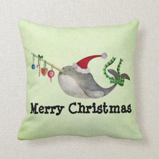 Cute Christmas Narwhal Throw Pillow