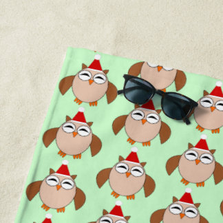 Cute Christmas Owl Beach Towel