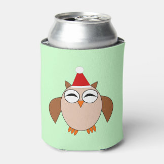 Cute Christmas Owl Can Cooler