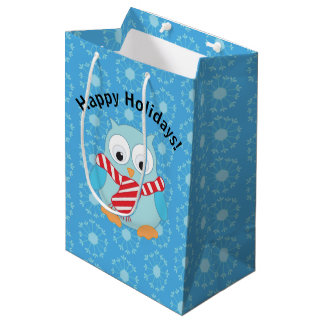 Cute Christmas Owl Happy Holidays Medium Gift Bag