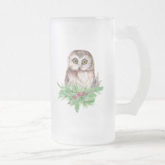 Cute Christmas Owl Humor, Watercolor Bird Frosted Glass Beer Mug