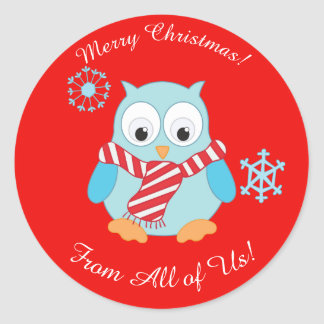 Cute Christmas Owl Personalized Classic Round Sticker