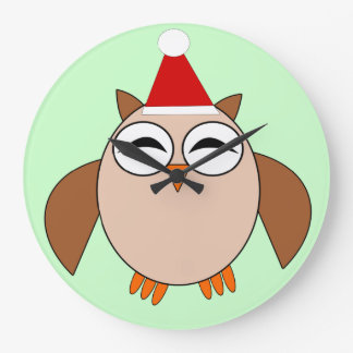 Cute Christmas Owl Wall Clock
