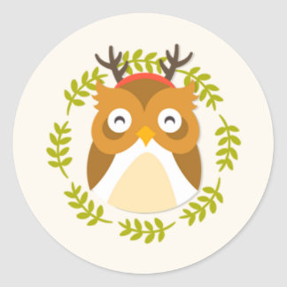 Cute Christmas Owl With Antlers Stickers