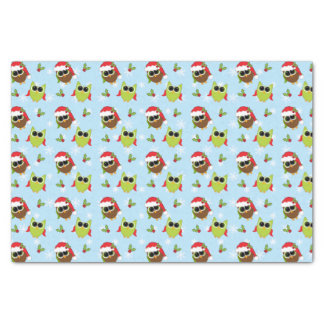 Cute Christmas Owls Pattern Tissue Paper