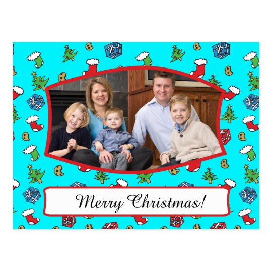 Cute Christmas Pattern Family Photo Postcard