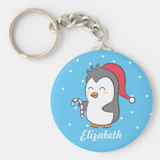 Cute Christmas Penguin Candy Cane Kids Keychain