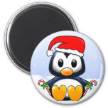 Cute Christmas Penguin Cartoon 2 Inch Round Magnet