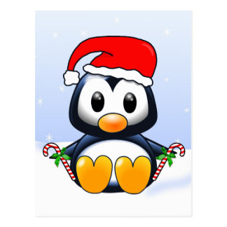 Cute Christmas Penguin Cartoon Postcard