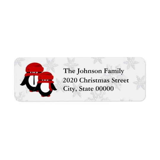 Cute Christmas Penguin Couple RA Return Address Label