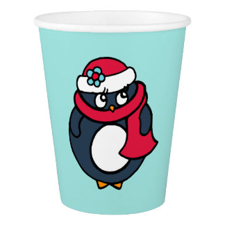 Cute Christmas Penguin Holiday Party Paper Cups