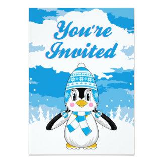 Cute Christmas Penguin Party Invite