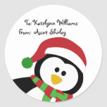 Cute Christmas Penguin Personalized Gift Tags Round Sticker