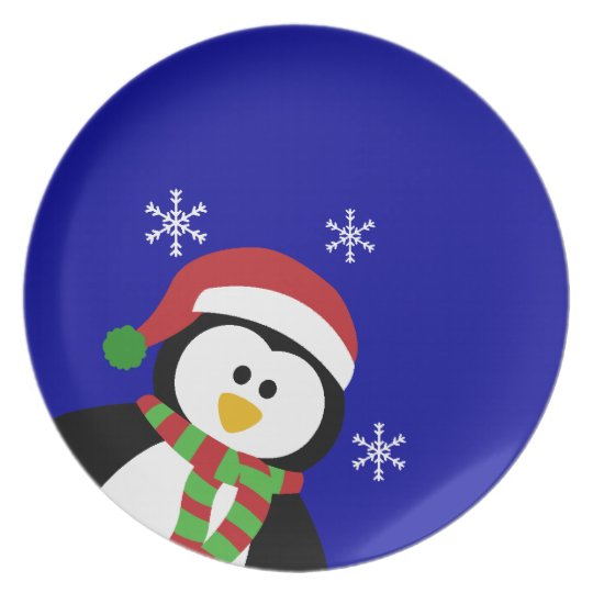 Cute Christmas Penguin Plates