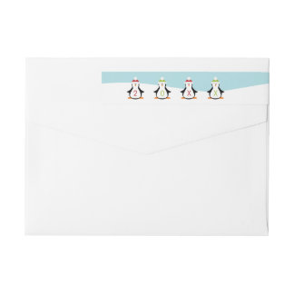 Cute Christmas Penguins Wrap Around Label