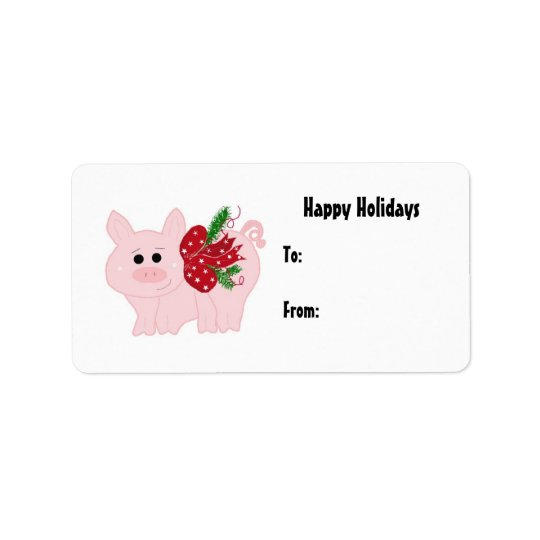 Cute Christmas Piggy Gift Tag