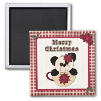 Cute Christmas Plaid Pattern Border & Panda Bear Fridge Magnets
