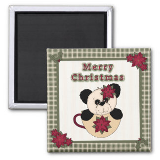 Cute Christmas Plaid Pattern Border & Panda Bear Refrigerator Magnet