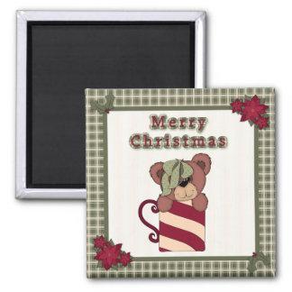 Cute Christmas Plaid Pattern Border Teddy Bear Magnet