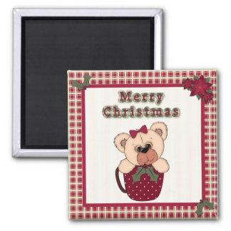 Cute Christmas Plaid Pattern Border & Teddy Bear Magnets