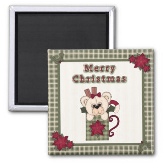 Cute Christmas Plaid Pattern Border & Teddy Bear Refrigerator Magnet