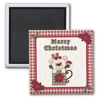 Cute Christmas Plaid Pattern Border & Teddy Bear Fridge Magnet