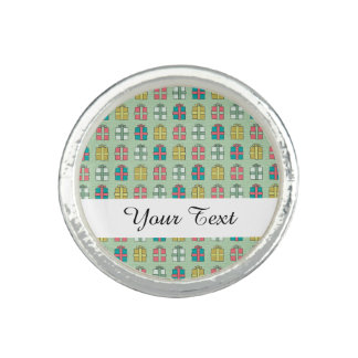 Cute Christmas Presents Pattern Photo Ring
