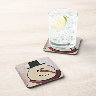 Cute Christmas Primitive Snowman Drink Coaster